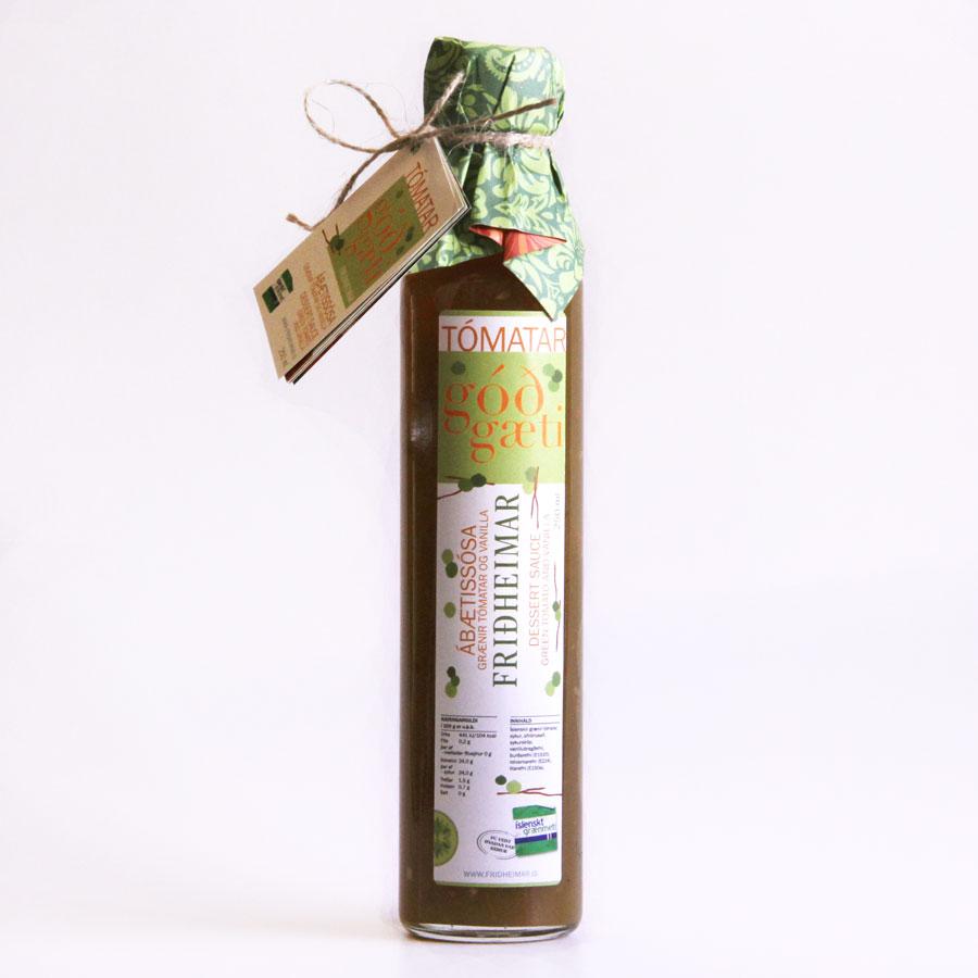 Dessert sauce with green tomato and vanilla